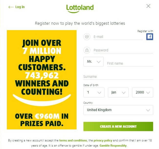 Lottoland SignUp Sheet